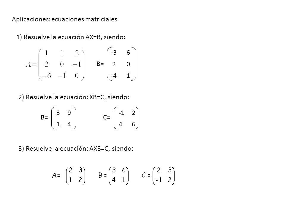 Aplicaciones: ecuaciones matriciales
