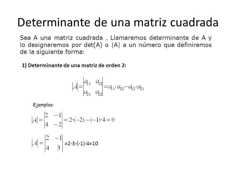 Determinante de una matriz cuadrada