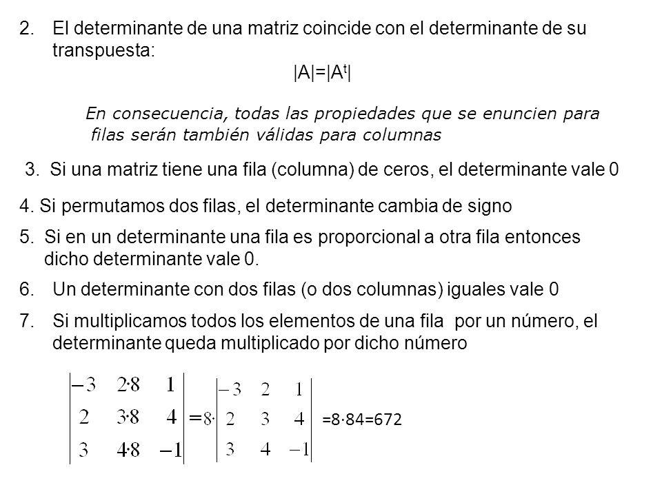 4. Si permutamos dos filas, el determinante cambia de signo