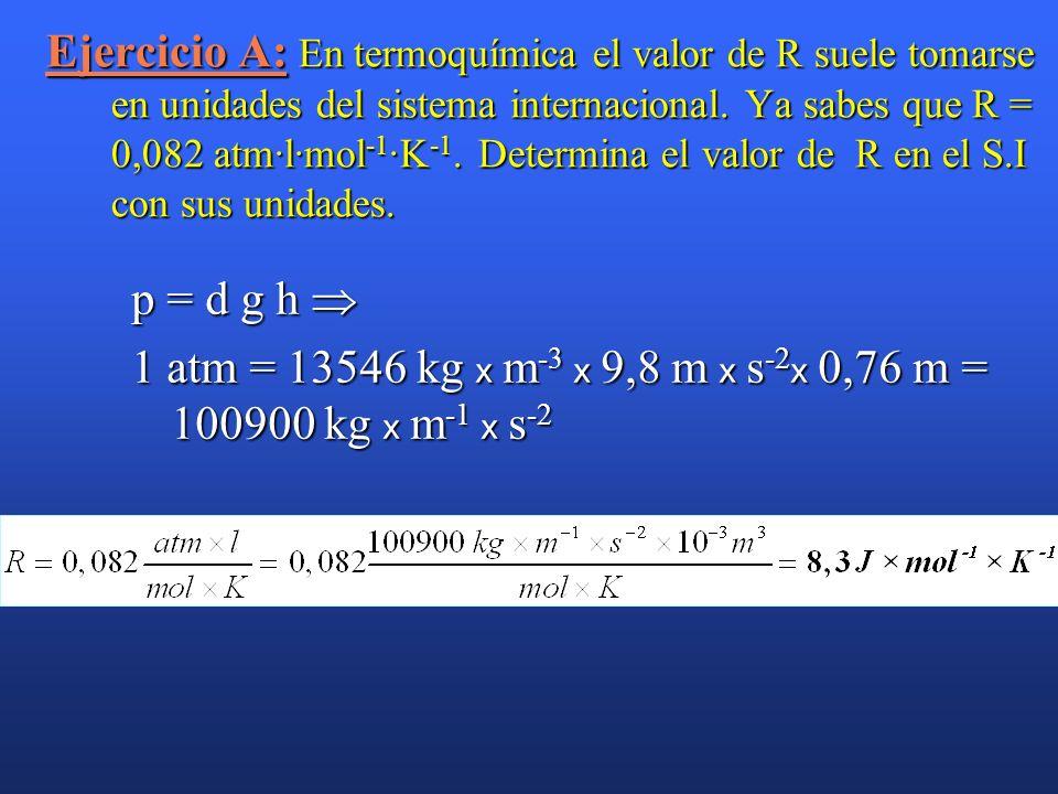 1 atm = 13546 kg x m-3 x 9,8 m x s-2x 0,76 m = 100900 kg x m-1 x s-2