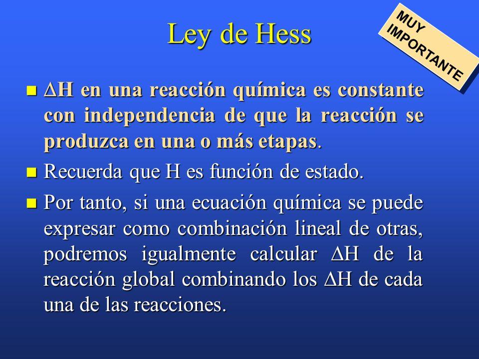 Ley de Hess MUY IMPORTANTE. H en una reacción química es constante con independencia de que la reacción se produzca en una o más etapas.