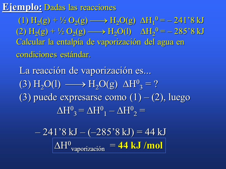 Ejemplo: Dadas las reacciones (1) H2(g) + ½ O2(g)  H2O(g) H10 = – 241'8 kJ (2) H2(g) + ½ O2(g)  H2O(l) H20 = – 285'8 kJ Calcular la entalpía de vaporización del agua en condiciones estándar.