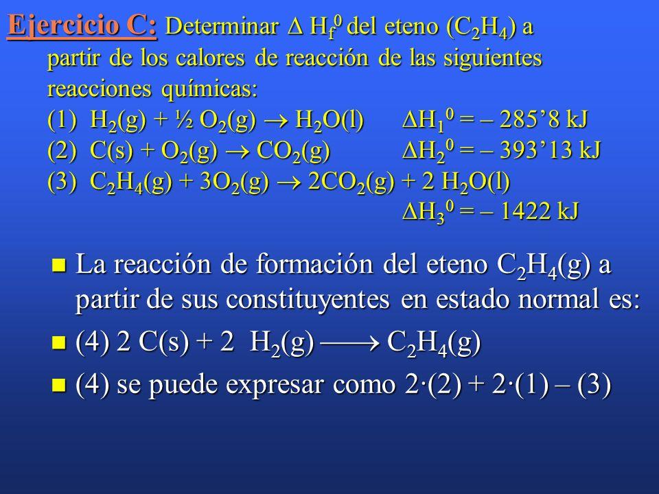 Ejercicio C: Determinar  Hf0 del eteno (C2H4) a partir de los calores de reacción de las siguientes reacciones químicas: (1) H2(g) + ½ O2(g)  H2O(l) H10 = – 285'8 kJ (2) C(s) + O2(g)  CO2(g) H20 = – 393'13 kJ (3) C2H4(g) + 3O2(g)  2CO2(g) + 2 H2O(l) H30 = – 1422 kJ