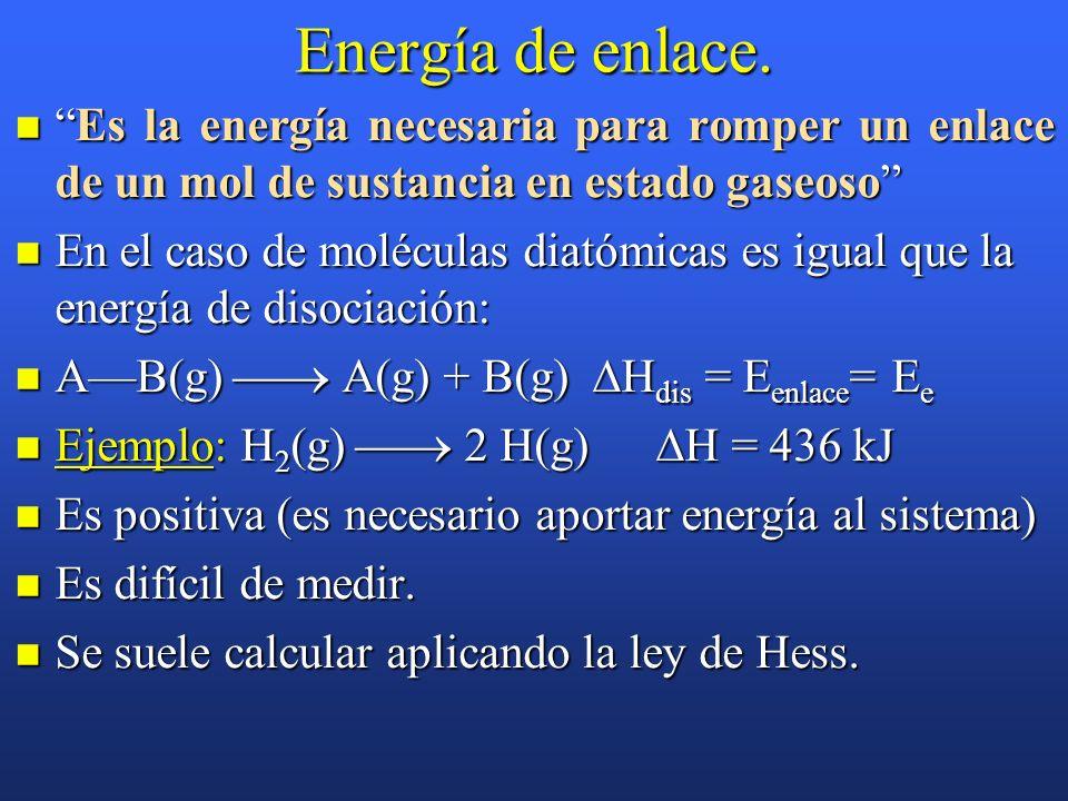 Energía de enlace. Es la energía necesaria para romper un enlace de un mol de sustancia en estado gaseoso