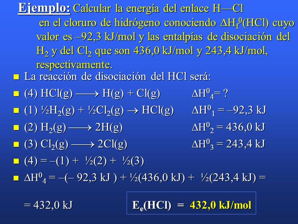 Ejemplo: Calcular la energía del enlace H—Cl en el cloruro de hidrógeno conociendo Hf0(HCl) cuyo valor es –92,3 kJ/mol y las entalpías de disociación del H2 y del Cl2 que son 436,0 kJ/mol y 243,4 kJ/mol, respectivamente.