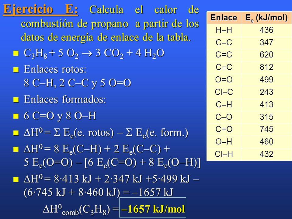 Ejercicio E: Calcula el calor de combustión de propano a partir de los datos de energía de enlace de la tabla.