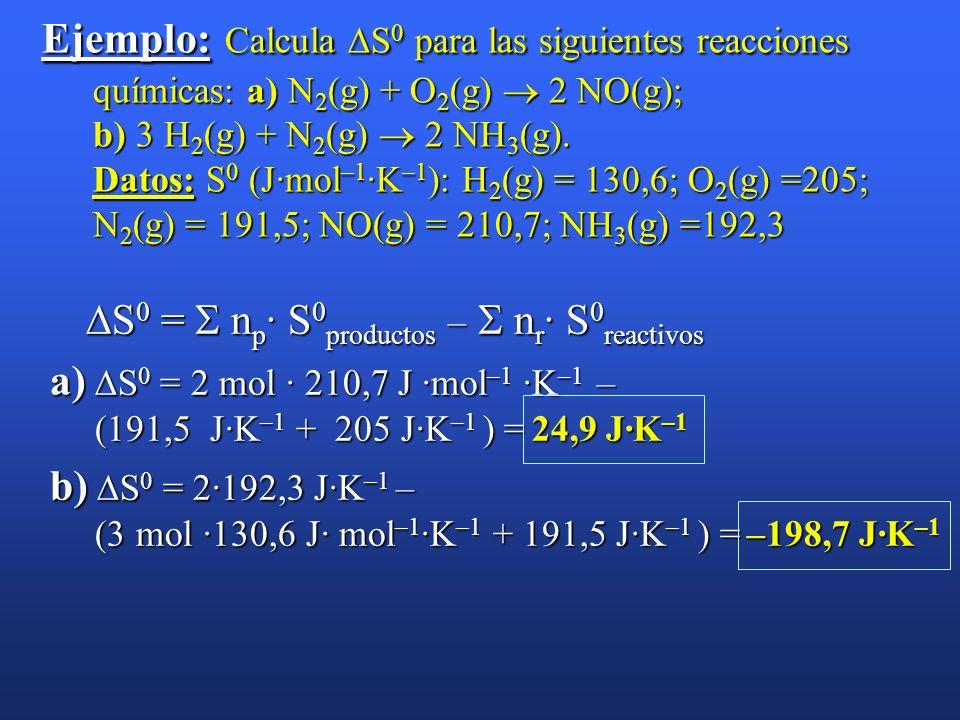 Ejemplo: Calcula S0 para las siguientes reacciones químicas: a) N2(g) + O2(g)  2 NO(g); b) 3 H2(g) + N2(g)  2 NH3(g). Datos: S0 (J·mol–1·K–1): H2(g) = 130,6; O2(g) =205; N2(g) = 191,5; NO(g) = 210,7; NH3(g) =192,3