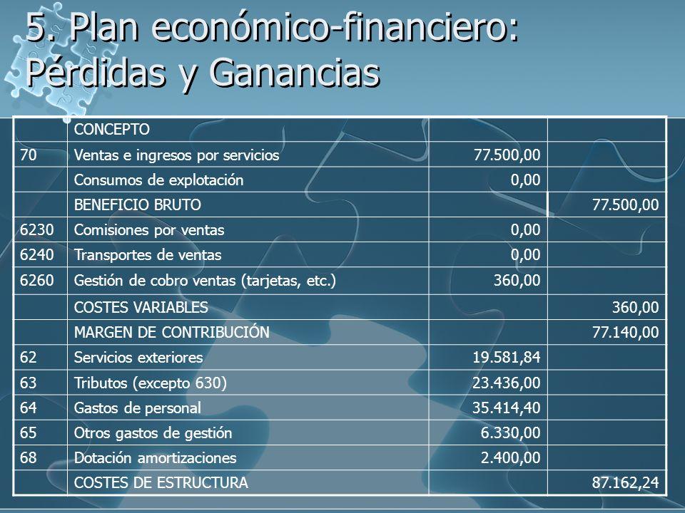 5. Plan económico-financiero: Pérdidas y Ganancias