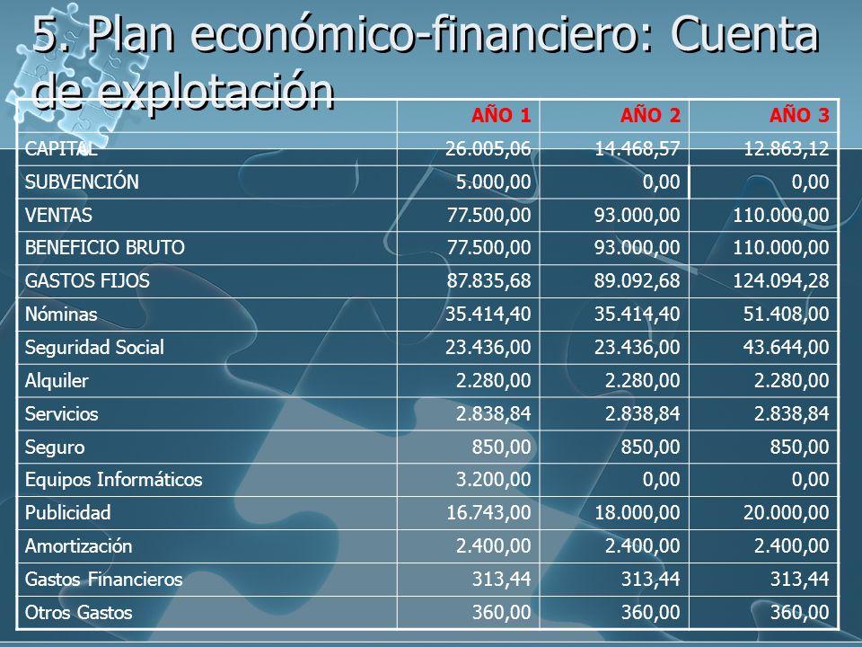 5. Plan económico-financiero: Cuenta de explotación