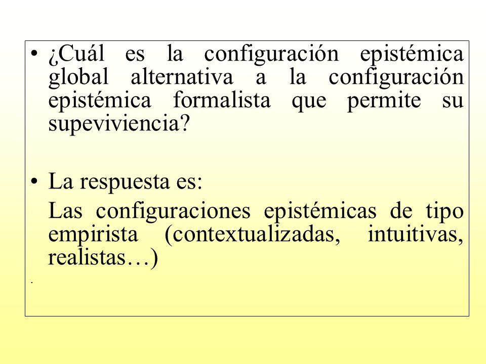 ¿Cuál es la configuración epistémica global alternativa a la configuración epistémica formalista que permite su supeviviencia