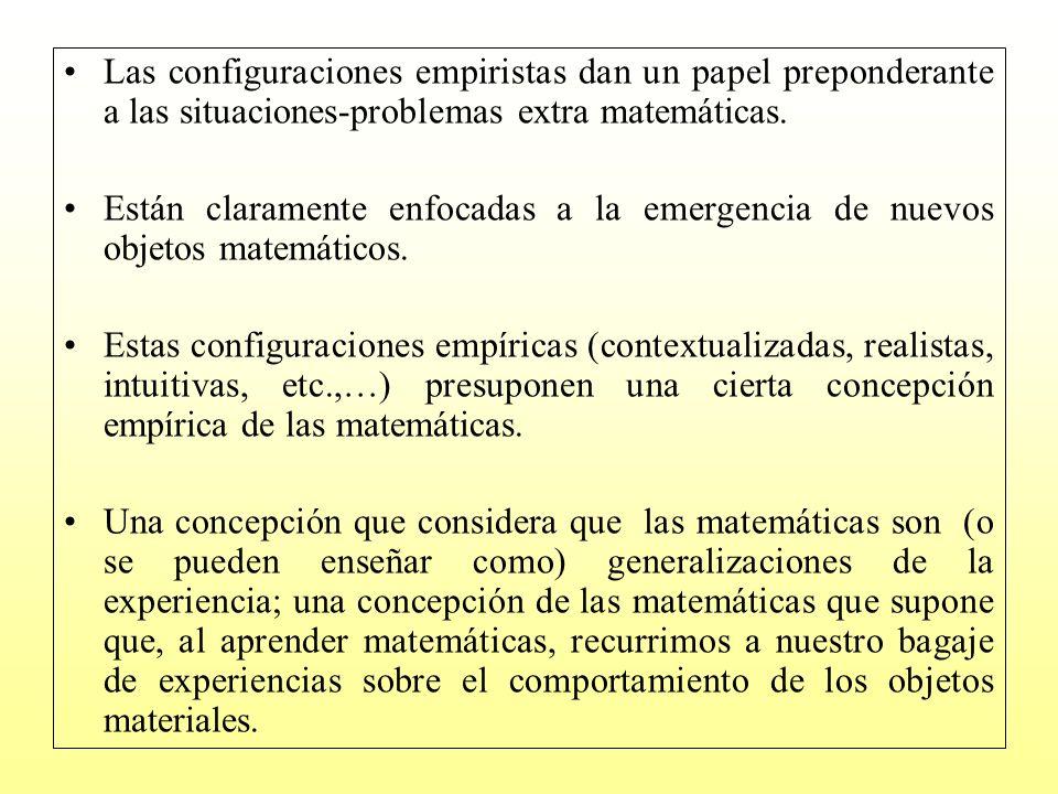 Las configuraciones empiristas dan un papel preponderante a las situaciones-problemas extra matemáticas.