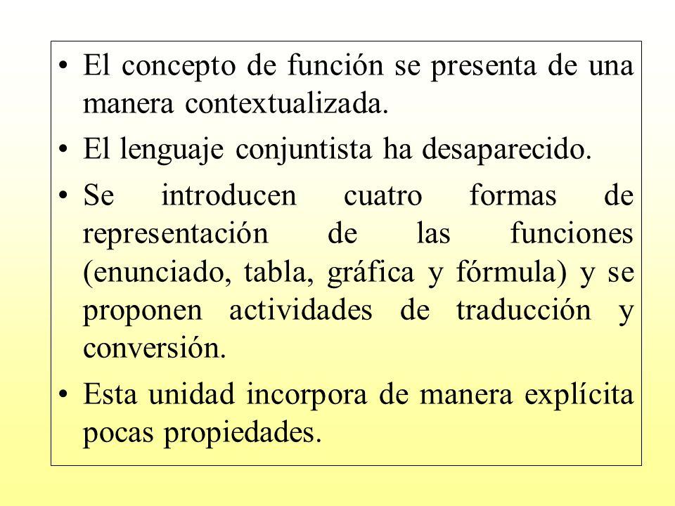El concepto de función se presenta de una manera contextualizada.
