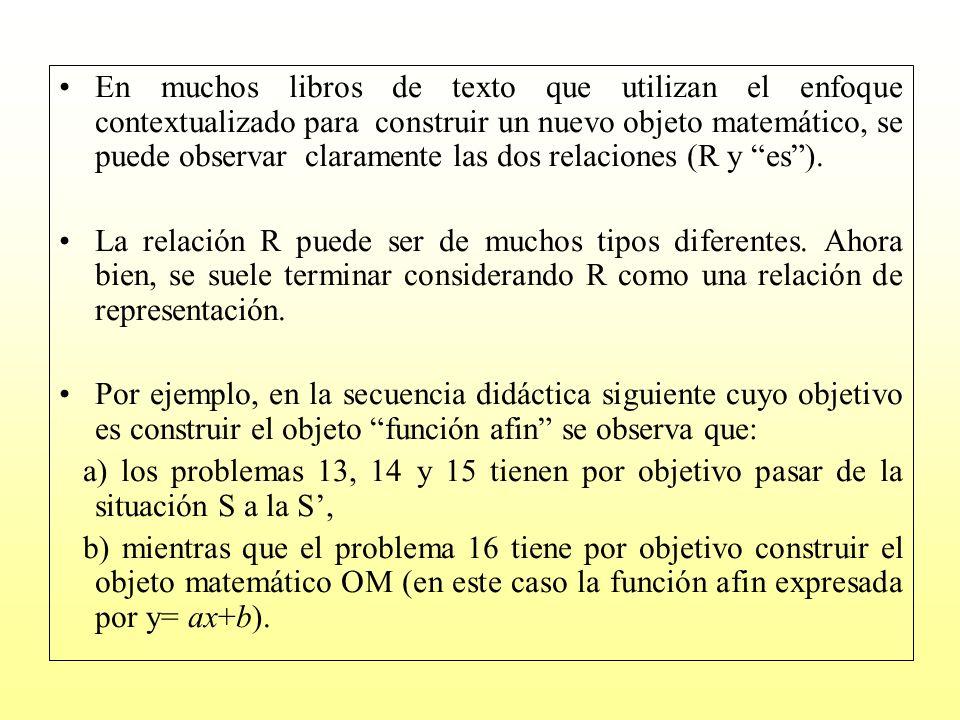 En muchos libros de texto que utilizan el enfoque contextualizado para construir un nuevo objeto matemático, se puede observar claramente las dos relaciones (R y es ).