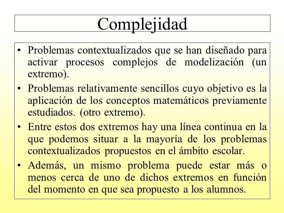 Complejidad Problemas contextualizados que se han diseñado para activar procesos complejos de modelización (un extremo).