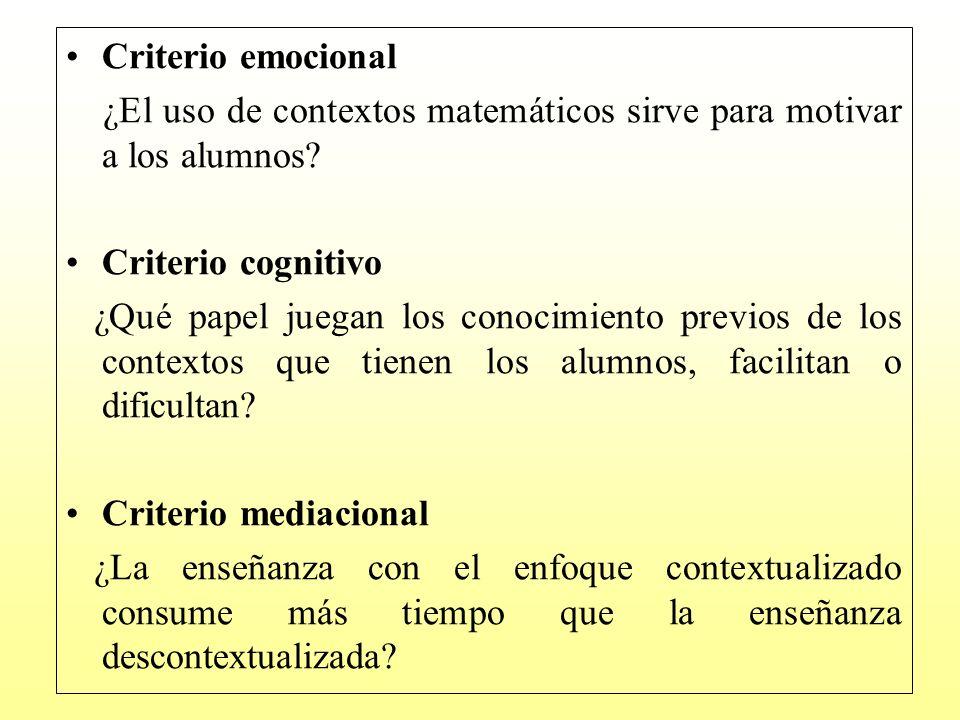 Criterio emocional ¿El uso de contextos matemáticos sirve para motivar a los alumnos Criterio cognitivo.
