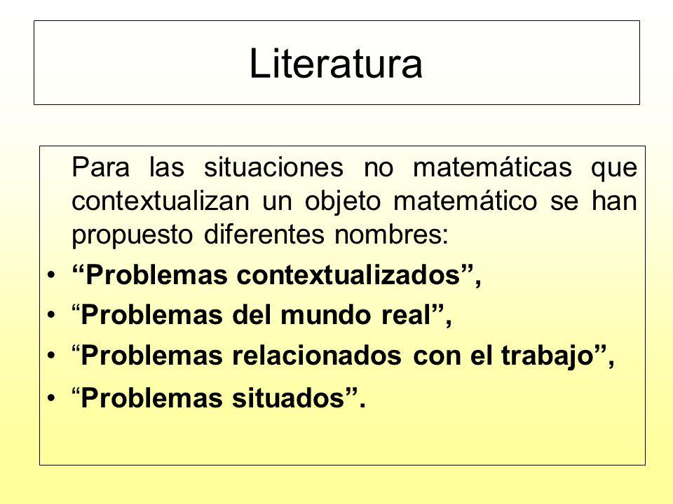 Literatura Problemas contextualizados , Problemas del mundo real ,