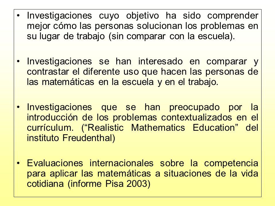 Investigaciones cuyo objetivo ha sido comprender mejor cómo las personas solucionan los problemas en su lugar de trabajo (sin comparar con la escuela).