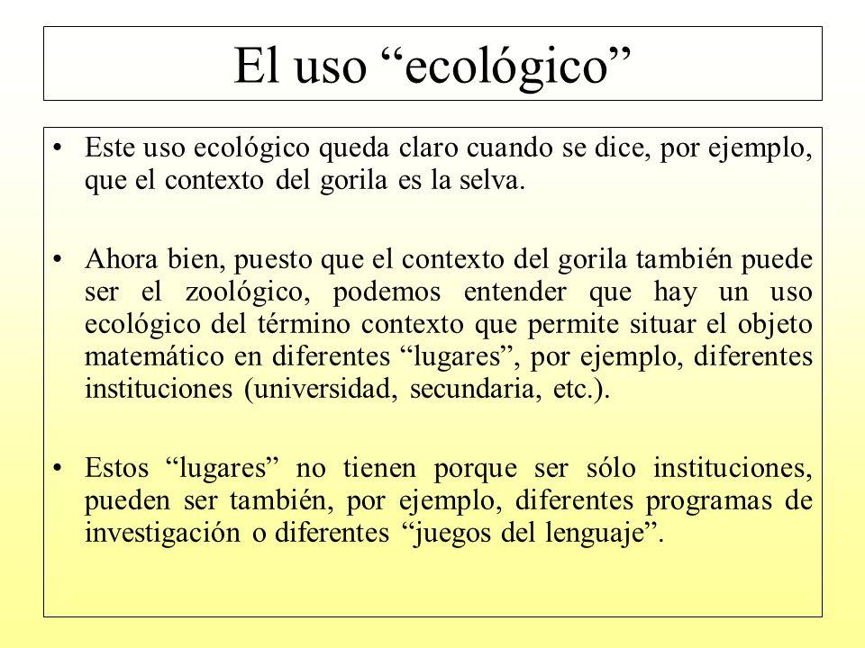 El uso ecológico Este uso ecológico queda claro cuando se dice, por ejemplo, que el contexto del gorila es la selva.