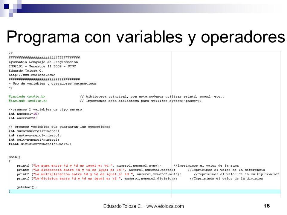 Programa con variables y operadores