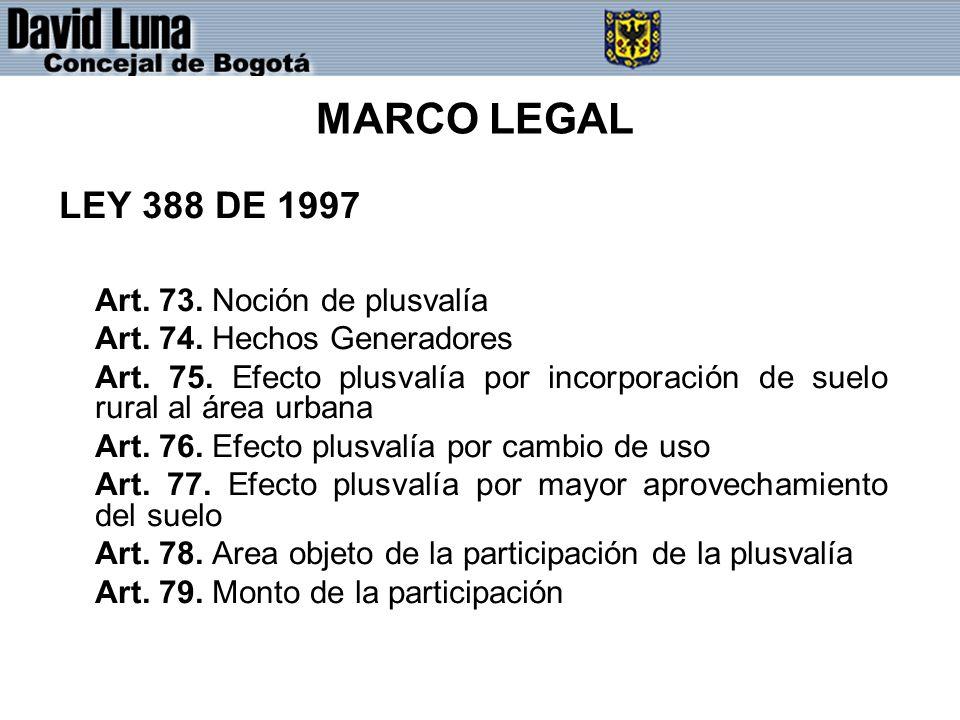 MARCO LEGAL LEY 388 DE 1997 Art. 73. Noción de plusvalía