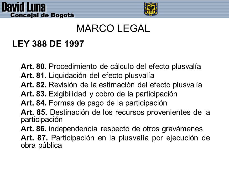 MARCO LEGAL LEY 388 DE 1997. Art. 80. Procedimiento de cálculo del efecto plusvalía. Art. 81. Liquidación del efecto plusvalía.