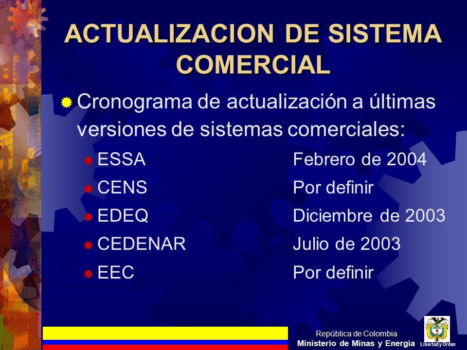ACTUALIZACION DE SISTEMA COMERCIAL