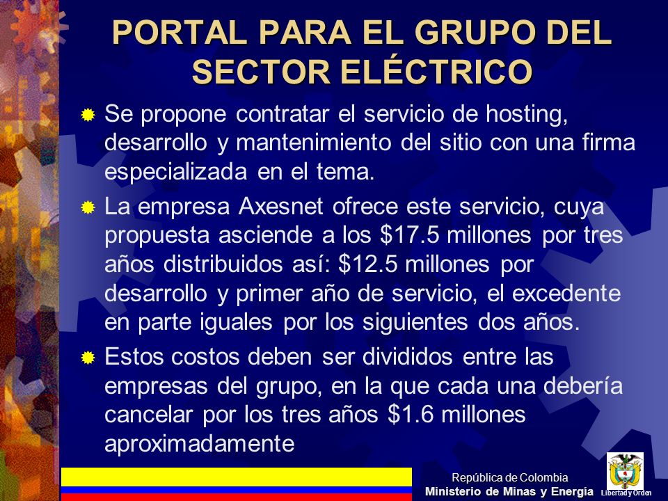 PORTAL PARA EL GRUPO DEL SECTOR ELÉCTRICO