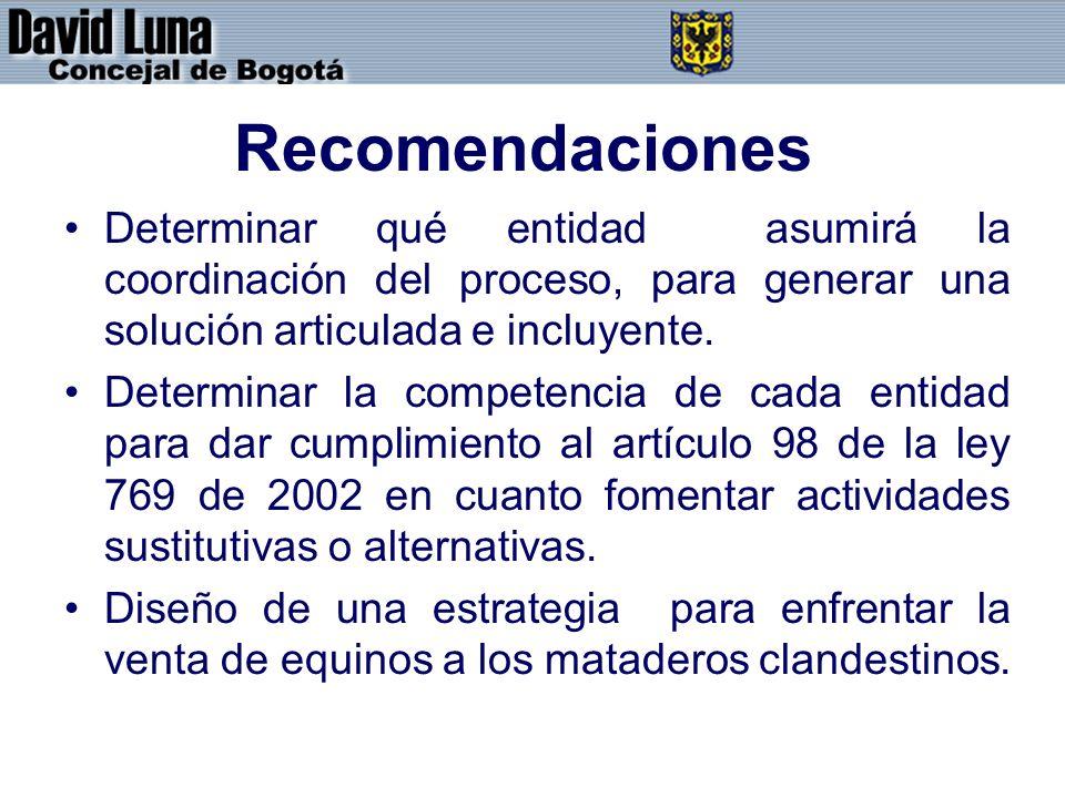 Recomendaciones Determinar qué entidad asumirá la coordinación del proceso, para generar una solución articulada e incluyente.