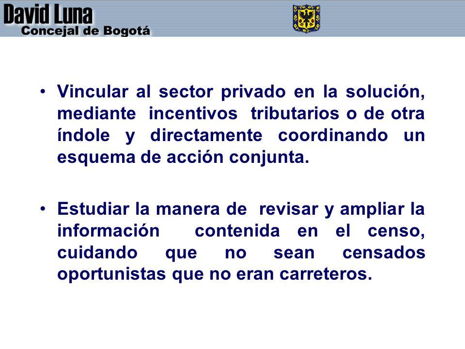 Vincular al sector privado en la solución, mediante incentivos tributarios o de otra índole y directamente coordinando un esquema de acción conjunta.