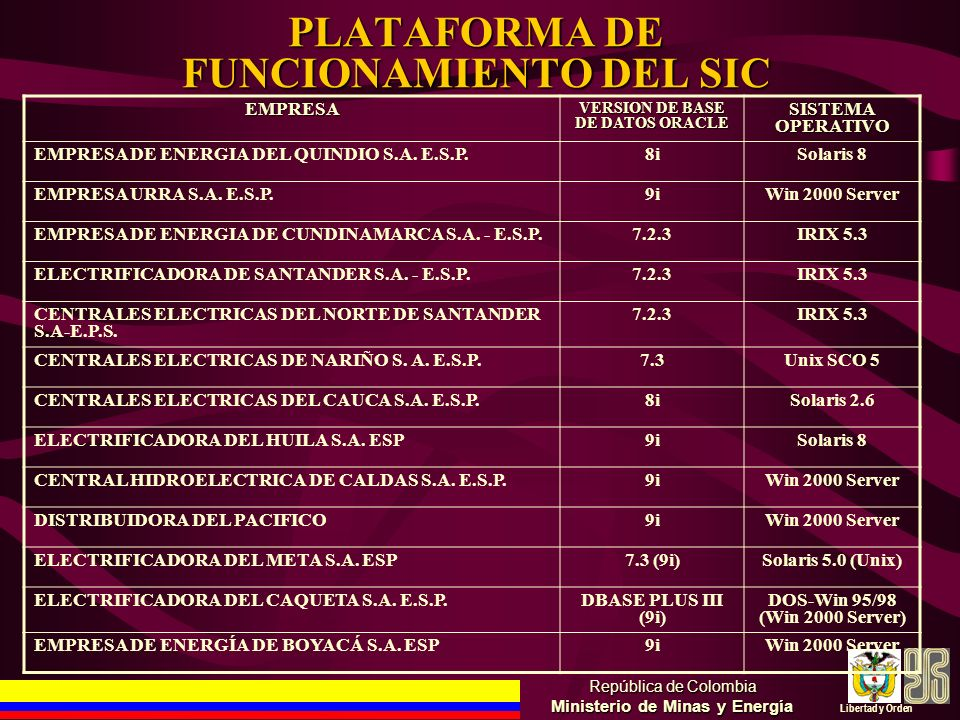 PLATAFORMA DE FUNCIONAMIENTO DEL SIC