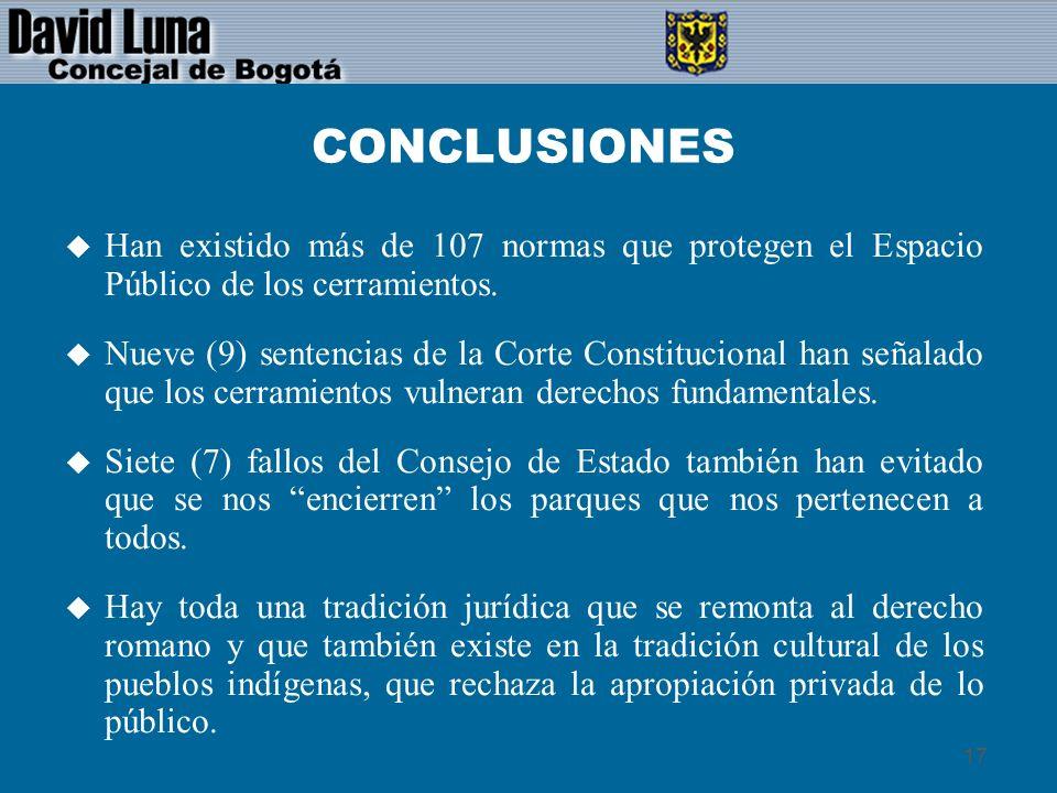 CONCLUSIONESHan existido más de 107 normas que protegen el Espacio Público de los cerramientos.