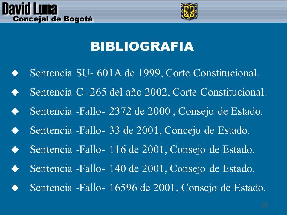 BIBLIOGRAFIA Sentencia SU- 601A de 1999, Corte Constitucional.