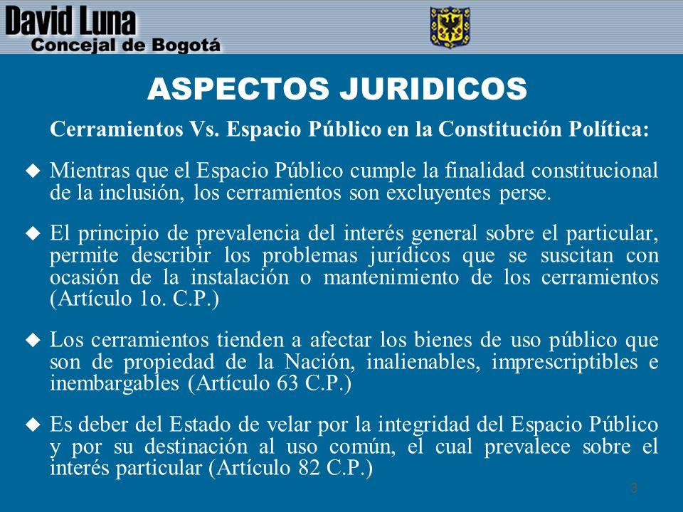 ASPECTOS JURIDICOSCerramientos Vs. Espacio Público en la Constitución Política: