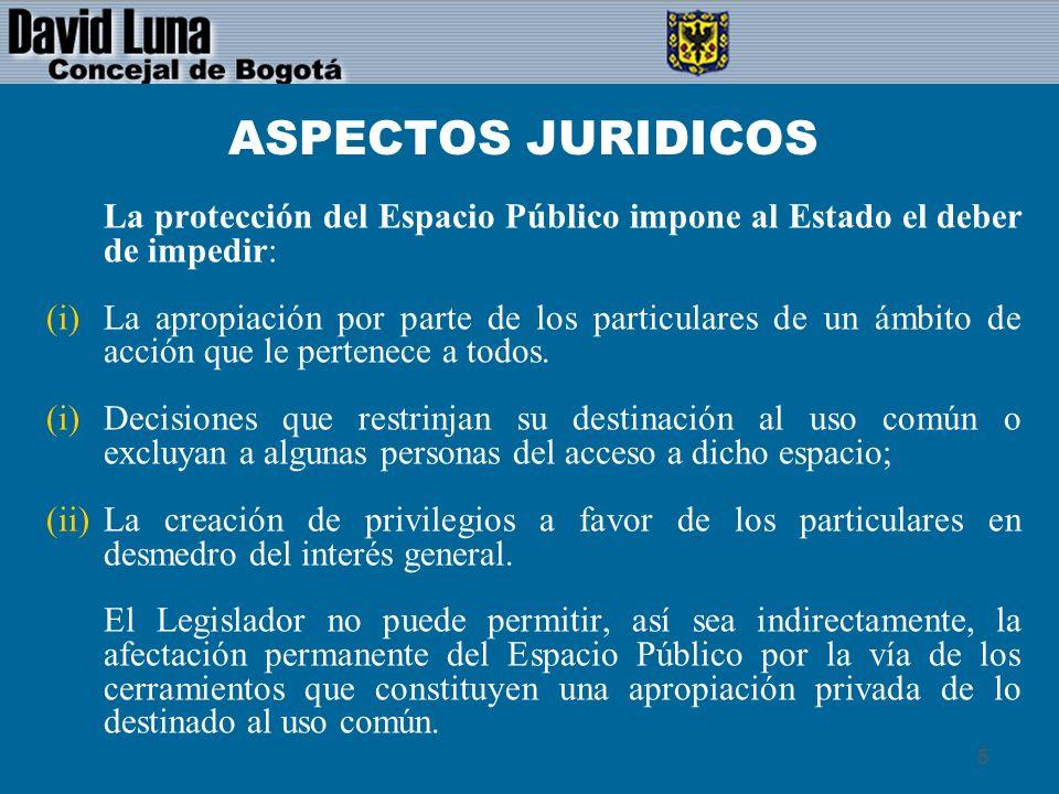 ASPECTOS JURIDICOSLa protección del Espacio Público impone al Estado el deber de impedir: