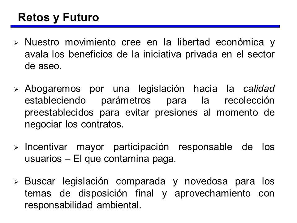 Retos y Futuro Nuestro movimiento cree en la libertad económica y avala los beneficios de la iniciativa privada en el sector de aseo.