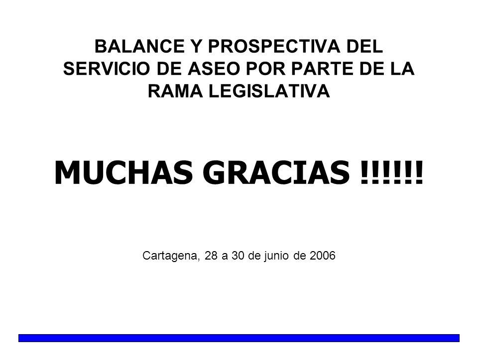 BALANCE Y PROSPECTIVA DEL SERVICIO DE ASEO POR PARTE DE LA RAMA LEGISLATIVA MUCHAS GRACIAS !!!!!.