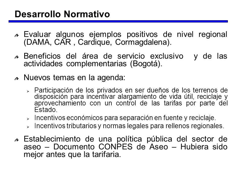 Desarrollo Normativo Evaluar algunos ejemplos positivos de nivel regional (DAMA, CAR , Cardique, Cormagdalena).
