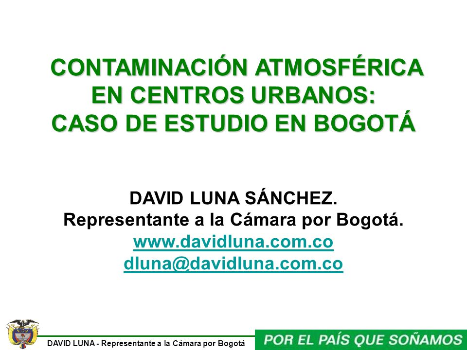 CONTAMINACIÓN ATMOSFÉRICA CASO DE ESTUDIO EN BOGOTÁ