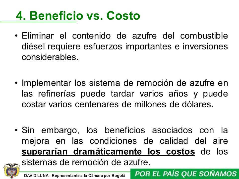 4. Beneficio vs. Costo Eliminar el contenido de azufre del combustible diésel requiere esfuerzos importantes e inversiones considerables.