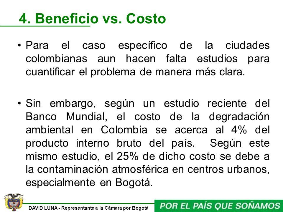 4. Beneficio vs. Costo Para el caso específico de la ciudades colombianas aun hacen falta estudios para cuantificar el problema de manera más clara.