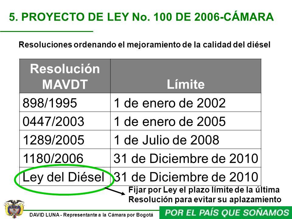 Resoluciones ordenando el mejoramiento de la calidad del diésel