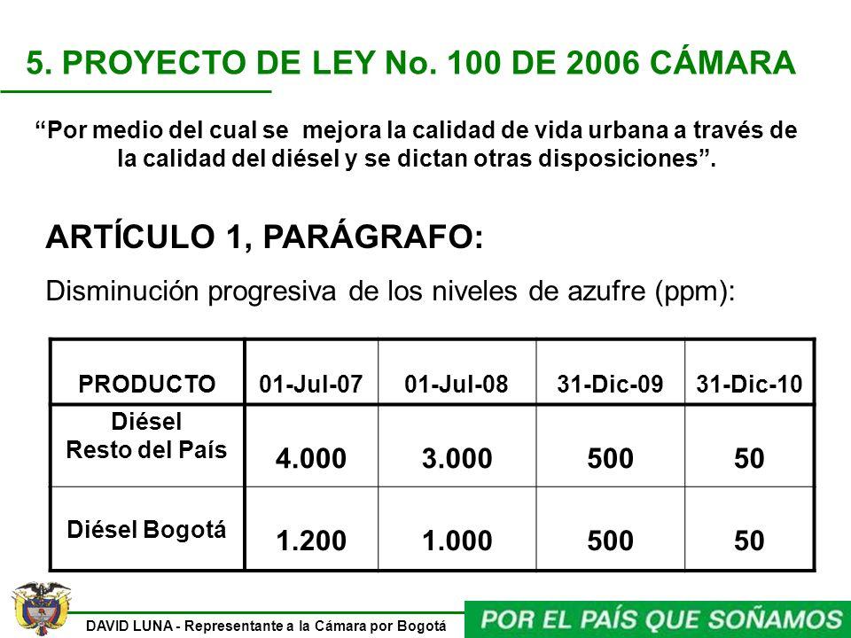 5. PROYECTO DE LEY No. 100 DE 2006 CÁMARA