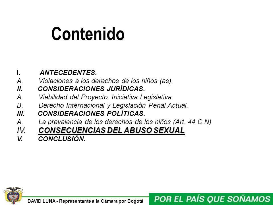 Contenido IV. CONSECUENCIAS DEL ABUSO SEXUAL I. ANTECEDENTES.