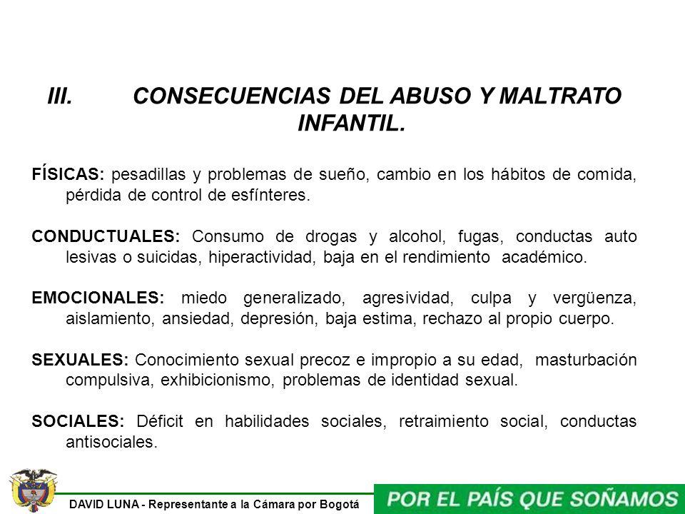 CONSECUENCIAS DEL ABUSO Y MALTRATO INFANTIL.