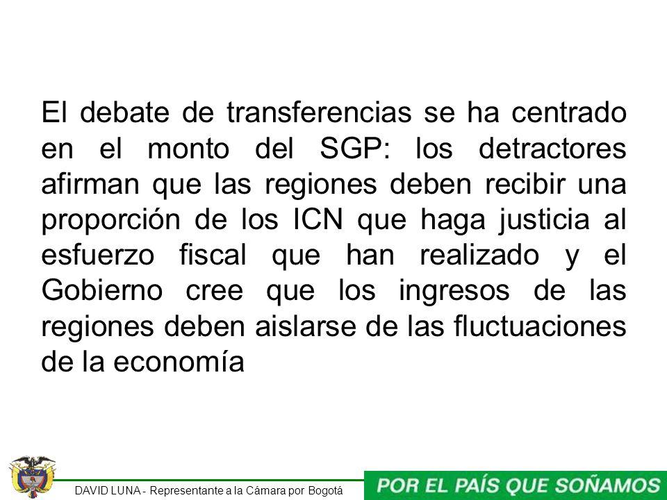 El debate de transferencias se ha centrado en el monto del SGP: los detractores afirman que las regiones deben recibir una proporción de los ICN que haga justicia al esfuerzo fiscal que han realizado y el Gobierno cree que los ingresos de las regiones deben aislarse de las fluctuaciones de la economía