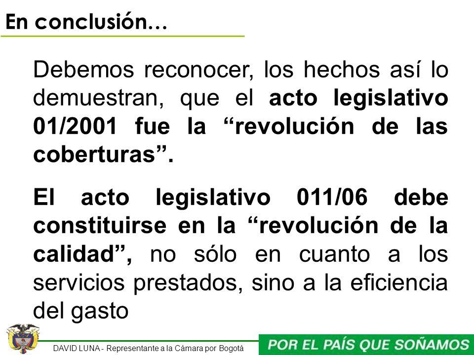 En conclusión…Debemos reconocer, los hechos así lo demuestran, que el acto legislativo 01/2001 fue la revolución de las coberturas .