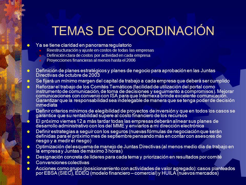 TEMAS DE COORDINACIÓN Ya se tiene claridad en panorama regulatorio