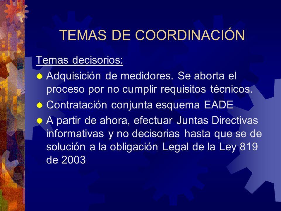 TEMAS DE COORDINACIÓN Temas decisorios: