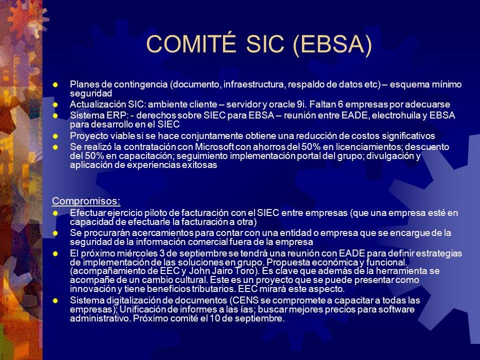 COMITÉ SIC (EBSA) Compromisos: