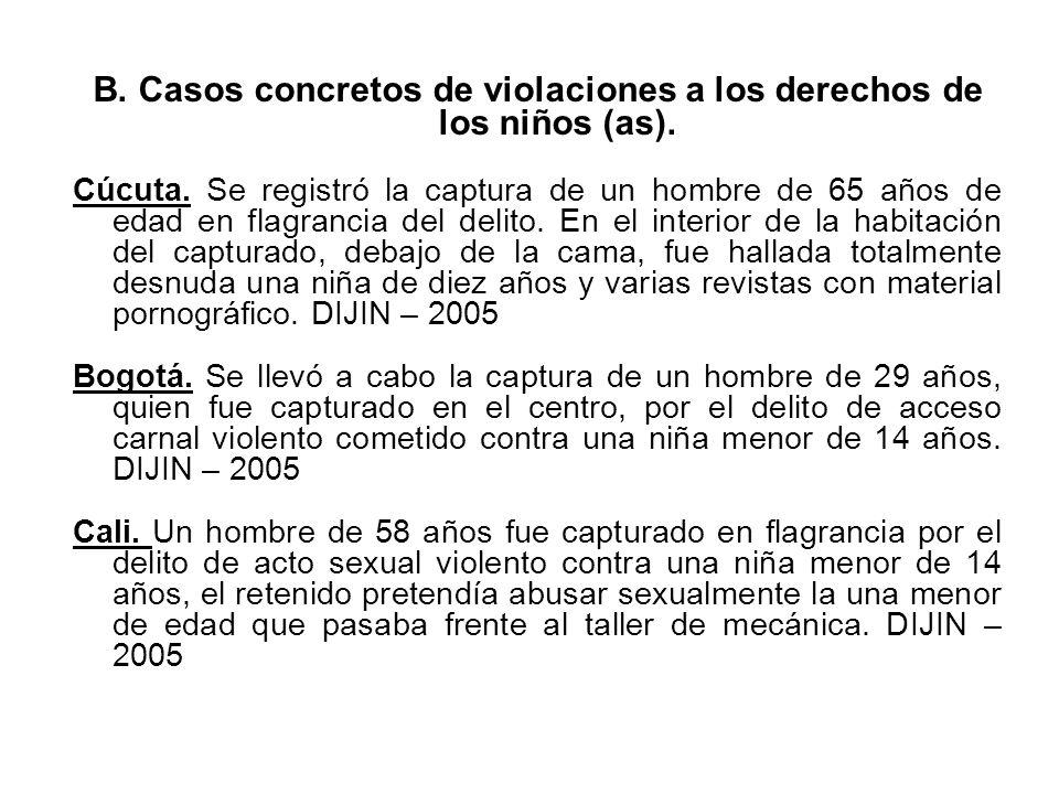 B. Casos concretos de violaciones a los derechos de los niños (as).